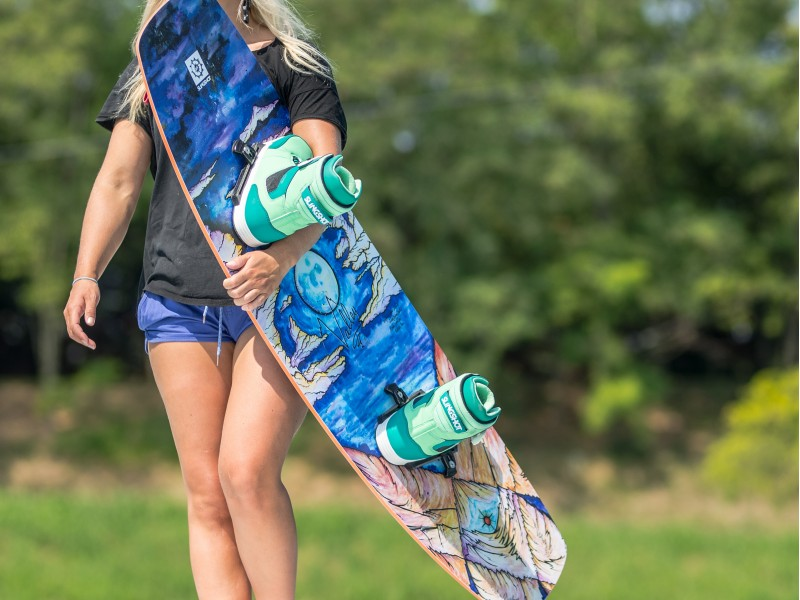Kim Kirch and the Slingshot Valley wakeboard